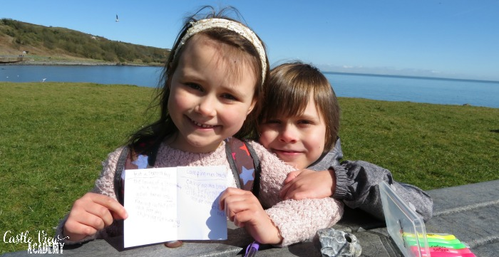 Composing haiku by the sea with Castle View Academy homeschool
