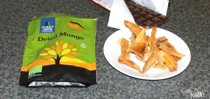 Dried Mango plus chocolate equals yum at Castle View Academy homeschool