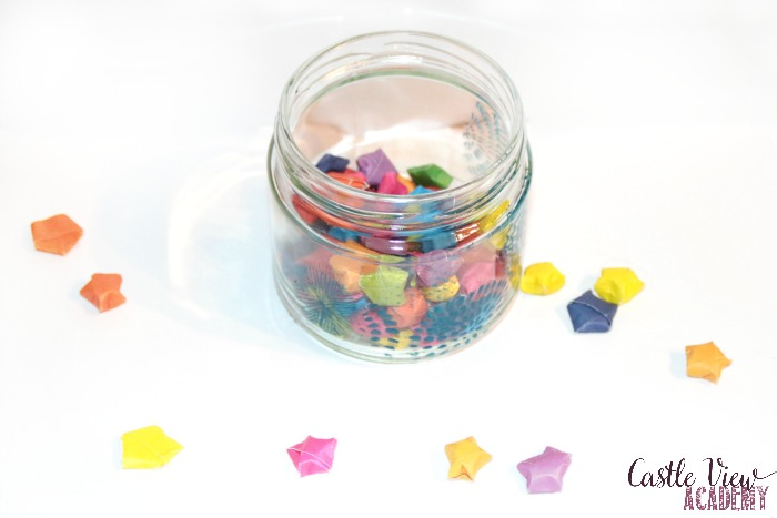 Folded star wish jar at Castle View Academy homeschool