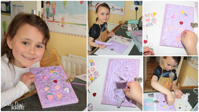 Smiggle diy keep safe journal kit for Screen Free week at Castle View Academy homeschool