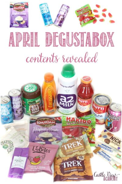 contents of the April Degustabox revealed at Castle View Academy homeschool