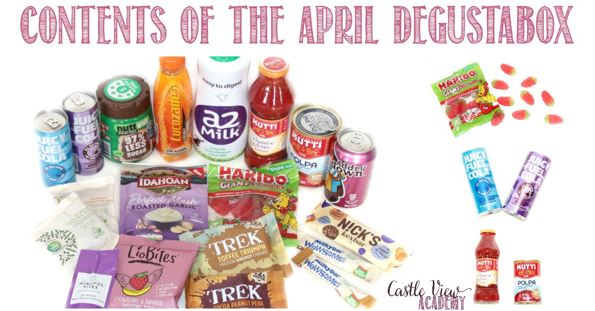 contents of the April Degustabox revealed at Castle View Academy