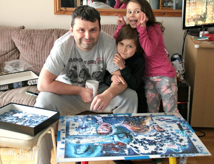A Star Wars puzzle is a family gathering at Castle View Academy homeschol