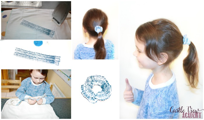 Making a hair scrunchie with Screen Sensation at Castle View Academy homeschool
