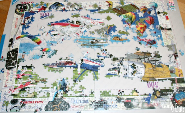 Castle View Academy homeschool is taking to the skies with this Ravensburger puzzle