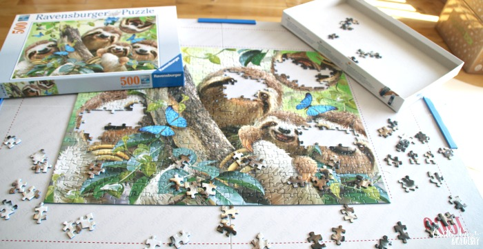 the Sloth Selfie puzzle is almost done at Castle View Academy homeschool