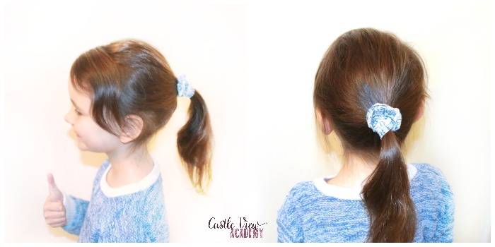 Castle View Academy's screen printed hair scrunchie
