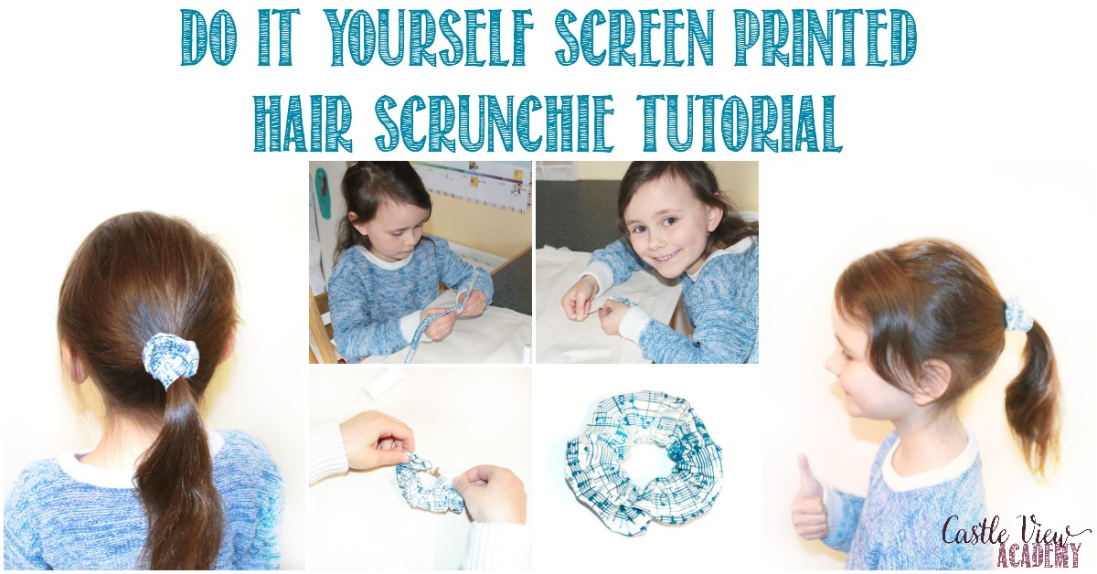 DIY screen printed hair scrunchie tutorial by Castle View Academy