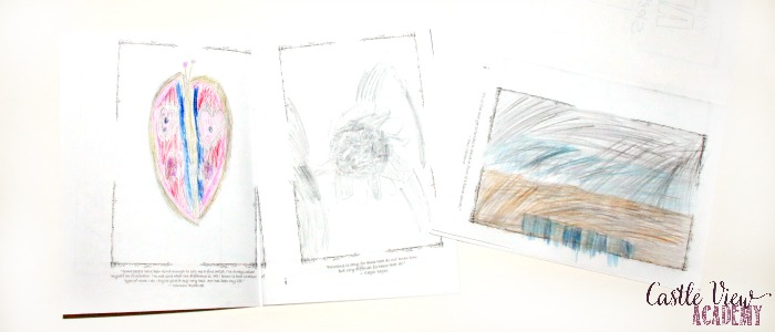 Artist sketch book at Castle View Academy homeschool