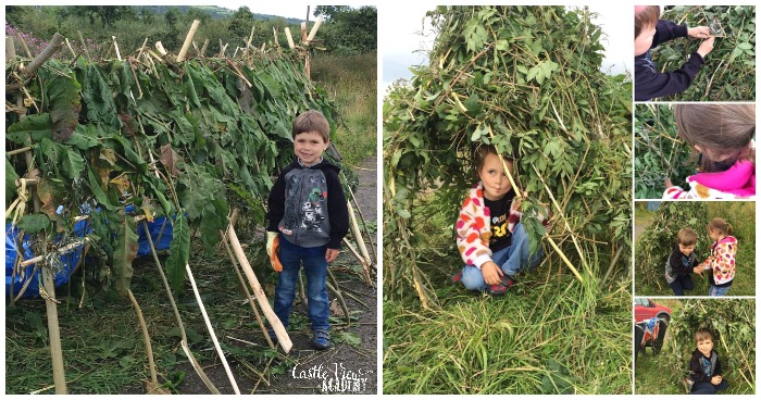 Bushcraft shelters at the Biodiversity Summer School 2016 with Castle View Academy homeschool