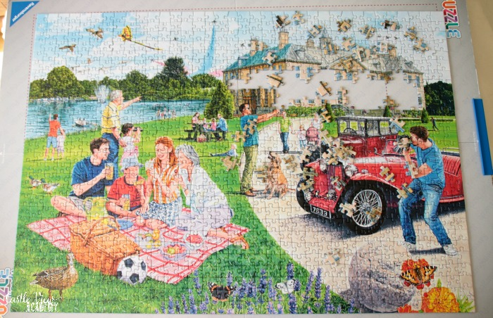 Days Out puzzle in progress at Castle View Academy homeschool