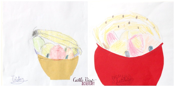 Fruit sketching at Castle View Academy homeschool