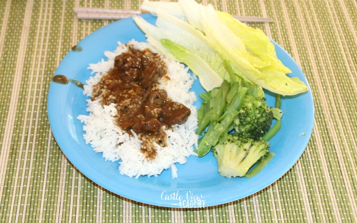 Korean beef for dinner at Castle View Academy homeschool