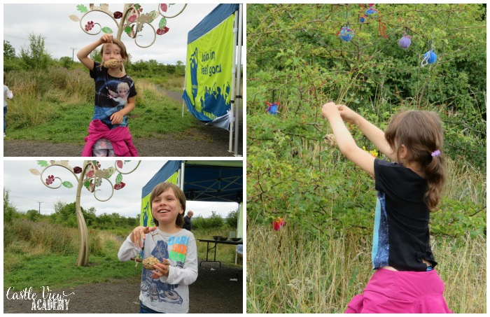 Natural bird feeders at the Biodiversity Summer School with the Conservation Volunteers and Castle View Academy homeschool