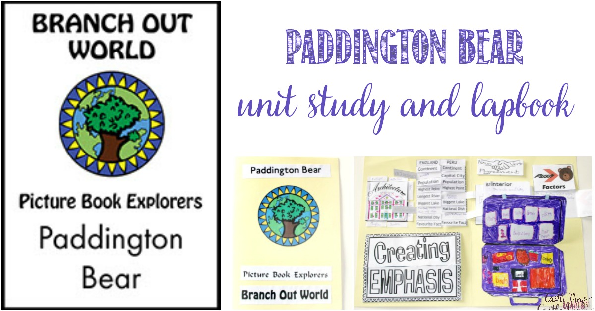 Paddington Bear unit study and lapbook reviewed at Castle View Academy