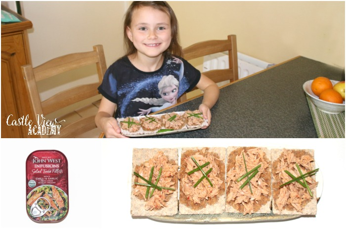 Tuna canapes at Castle View Academy homeschool