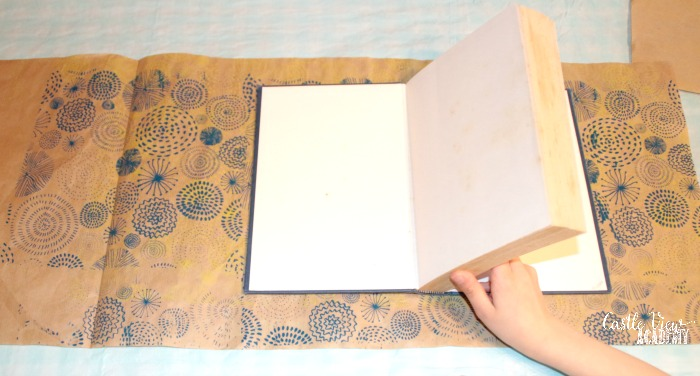 step one to make a Japanese-style book cover at Castle View Academy homeschool