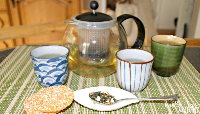 Castle View Academy drinking Genmai Cha tea from Japan with Adagio teas