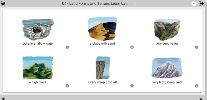 learning land forms in Latin at Castle View Academy homeschool