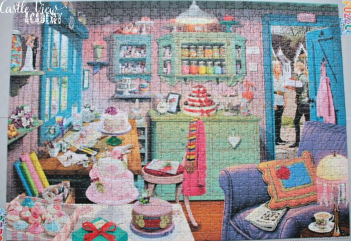 A completed Ravensburger puzzle - The Cake Shed at Castle View Academy homeschool