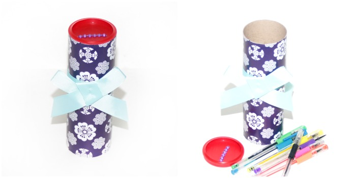 Cherry Blossom gift wrap pencil tube at Castle View Academy homeschool