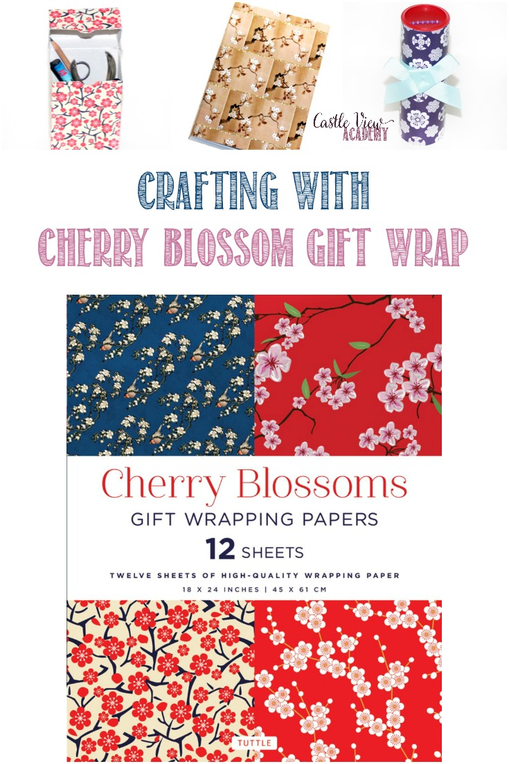 What You Can Do With Cherry Blossoms Gift Wrap; 4 paper projects kids can make #PaperCrafting #Stationary #TuttlePublishing #Sakura