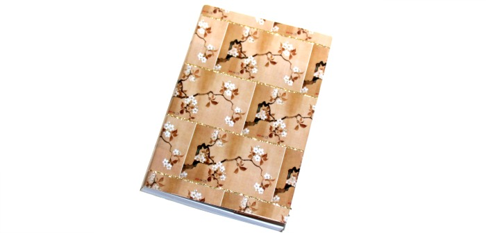 Japanese book cover using gift wrap at Castle View Academy homeschool