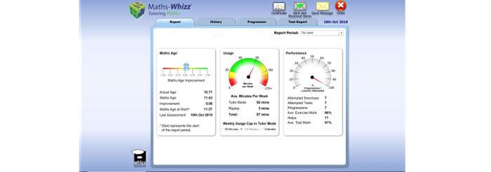 Math-Whizz dashboard