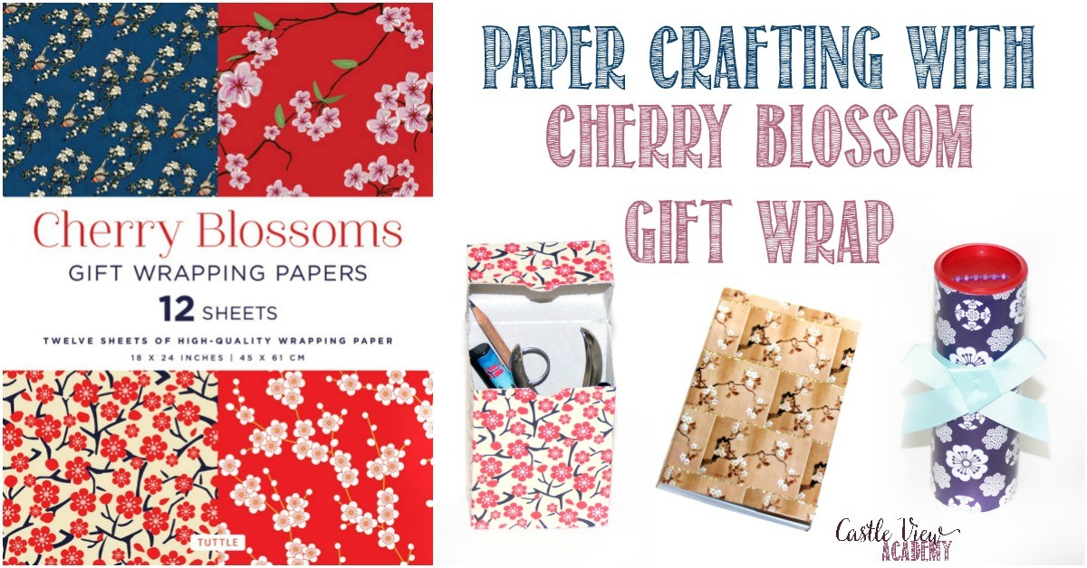Paper Crafting with Cherry Blossoms Gift Wrap at Castle View Academy homeschool