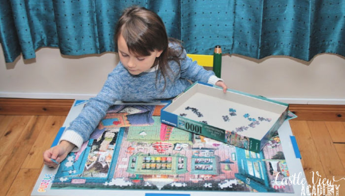 The Cake Shed puzzle is almost complete at Castle View Academy homeschool