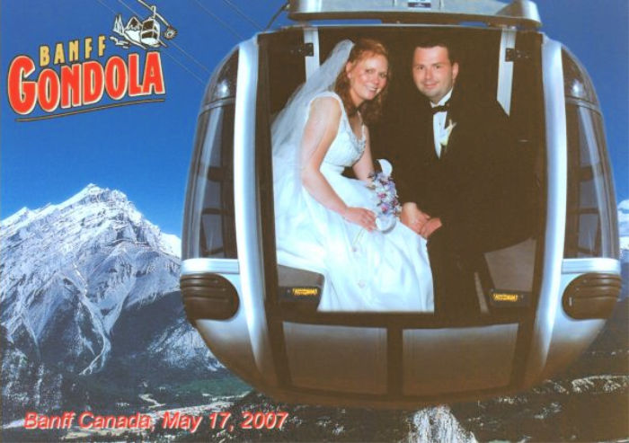 Banff Gondola on our Wedding Day with Castle View Academy