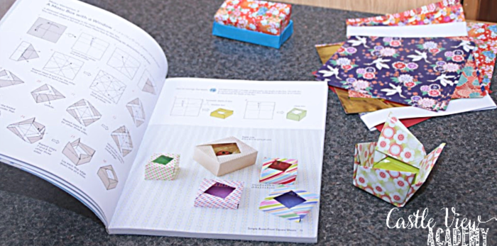 Castle View Academy homeschool folding origami boxes