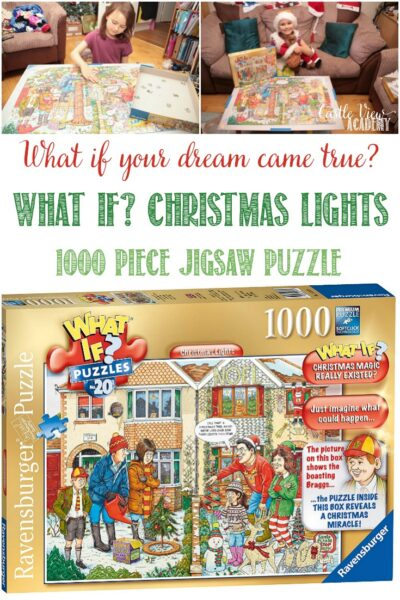 Castle View Academy homeschool reviews Ravensburger's What If Christmas Lights Puzzle