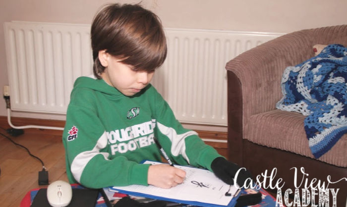 Homeschooling in Gloves at Castle View Academy homeschool