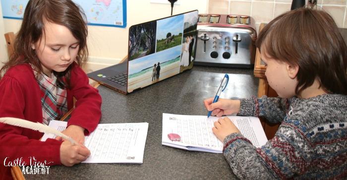 Castle View Academy homeschool working on Homeschool Complete unit studies