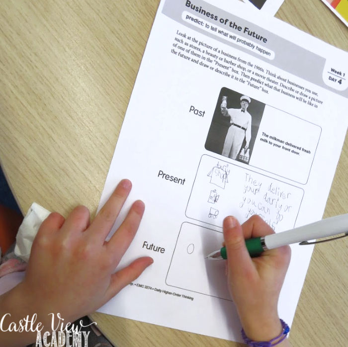 Critical thinking skills exercises at Castle View Academy homeschool