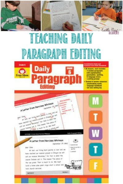 Editing skills with Evan-Moor Daily Paragraph Editing, a Review by Castle View Academy homeschool