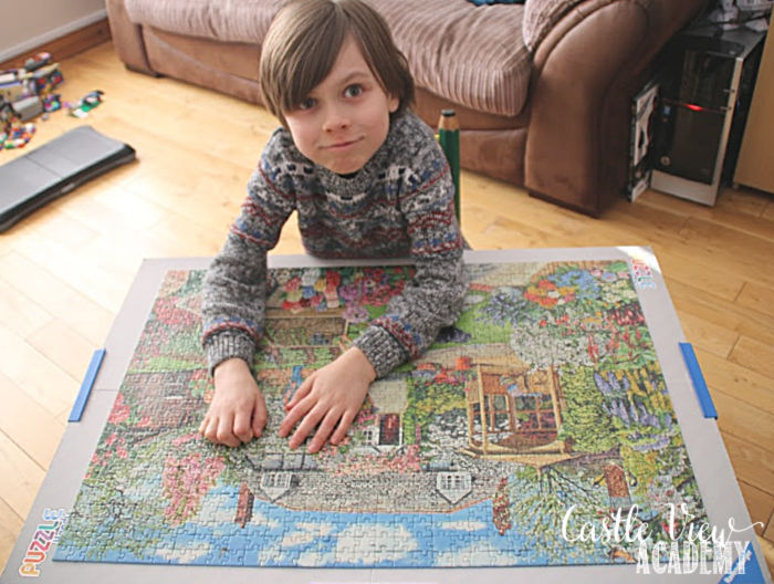 Finishing Gardening World puzzle at Castle View Academy homeschool