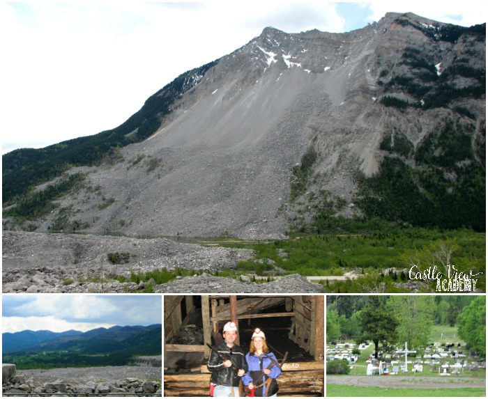 Frank Slide, Canada with Castle View Academy homeschool, unit study application