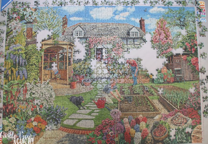 Gardening World puzzle is almost complete at Castle View Academy homeschool