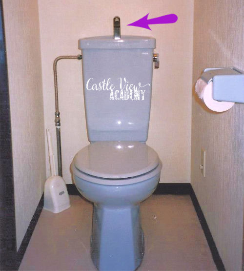 Hand washing toilet in Japanese apartment with Castle View Academy homeschool