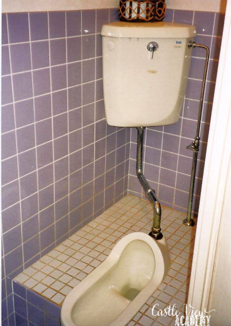 Japanese squat toilet with Castle View Academy homeschool