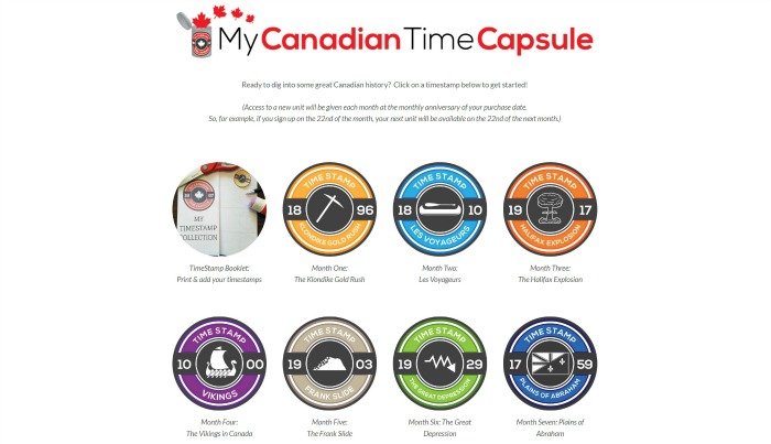 My Canadian Time Capsules, Canadian unit study