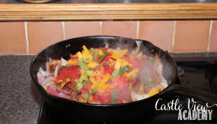What's for dinner at Castle View Academy - beef fajitas