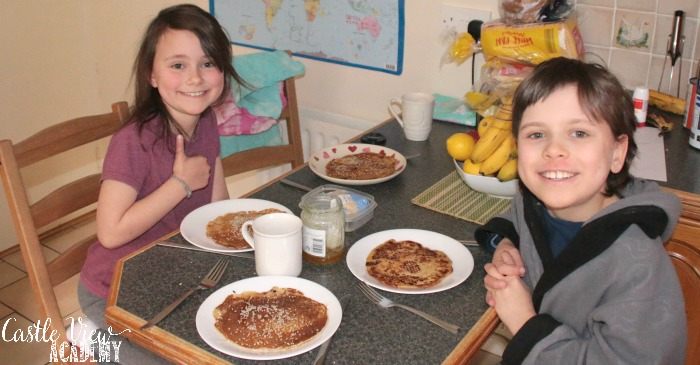 Ancient Greek pancakes at Castle View Academy homeschool