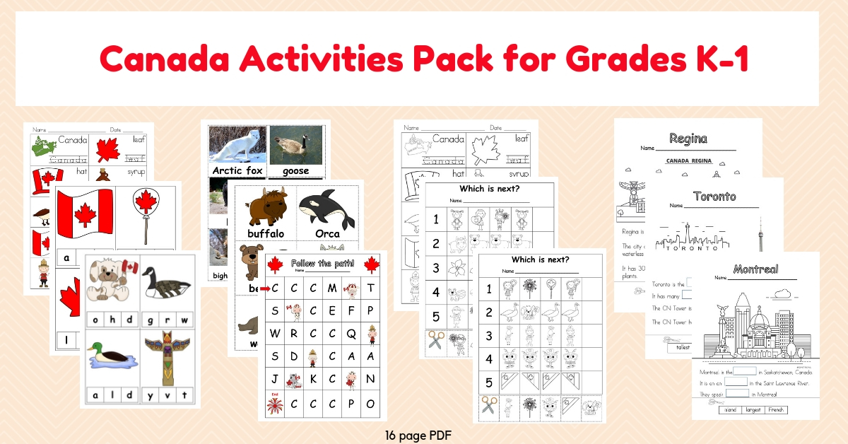 Canada Activities Pack Grade K-1 by Wise Owl Factory for Castle View Academy