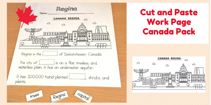 Canada Pack K-1 Cut and Paste Work Page