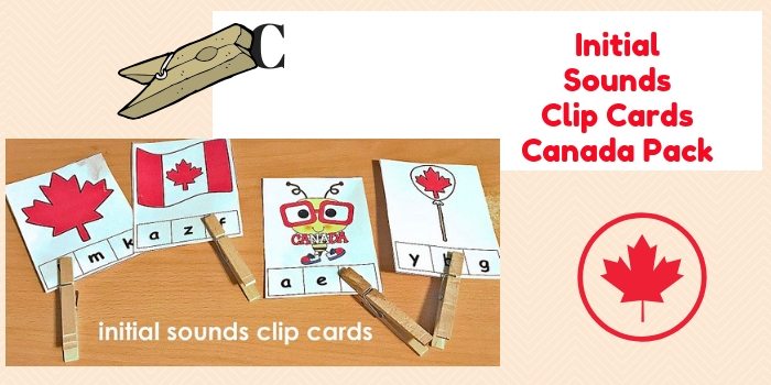 Initial Souns Clip Cards in the Canada Pack for K-1