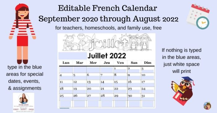 editable French class calendar free Sept 2020 Aug 2022 teachers homeschools