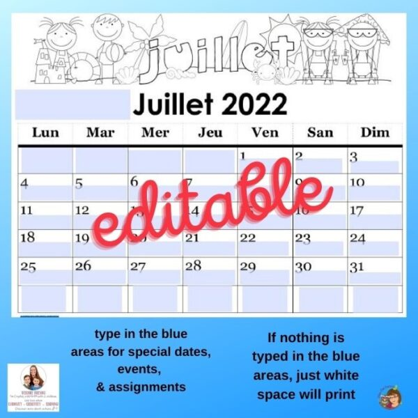 editable calendar through Aug 2022 free PDF